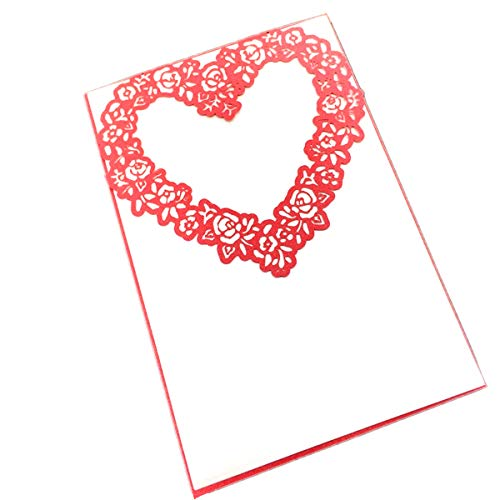 Printable Red Heart - 50-Packed Love Heart Laser Cut Invitations Cards Kit, Printable for Wedding, Bridal Shower, with Envelopes and Seal Sticker (Red)