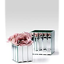 """Serene Spaces Living Gatsby Mirror Strip Cube Vase – Art Deco Inspired Glass Vase with Mirror Finish, Measures 4"""" Cube"""