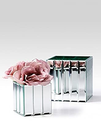 mirror vase. serene spaces living gatsby mirror strip cube vase \u2013 art deco inspired glass with i