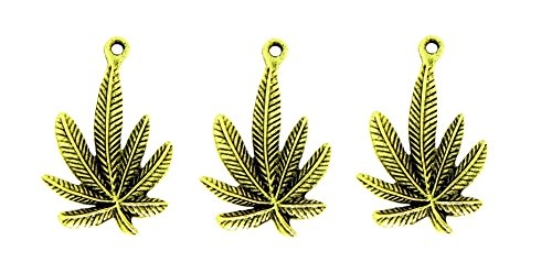 PlanetZia 5pcs Cannibus Marijuana Weed Pot Leaf Charm/Pendant USA Made For Jewelry Making MJ-251 (Antique Gold)