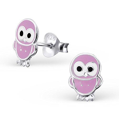Laimons - Boucles d'oreille hibou - enfant - argent sterling 925 - lilas