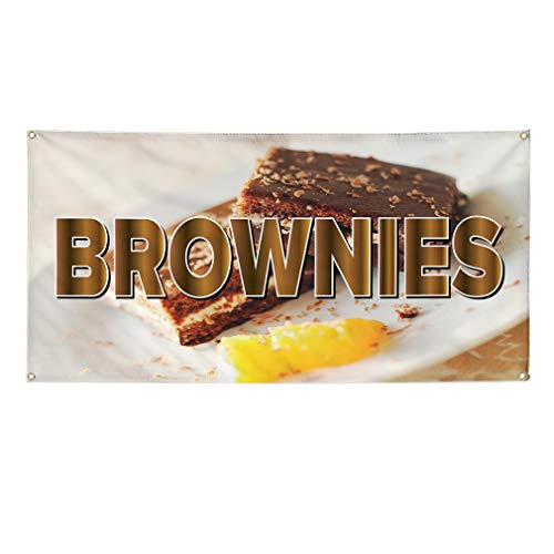 Vinyl Banner Sign Brownie Restaurant Cafe Bar Brownie Marketing Advertising White - 48inx120in (Multiple Sizes Available), 10 Grommets, Set of 2 - White Brownie