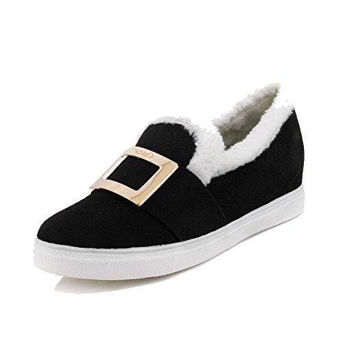 AgooLar Femme Rond Duvet Couleur Unie Tire Chaussures Légeres Noir ebkF4