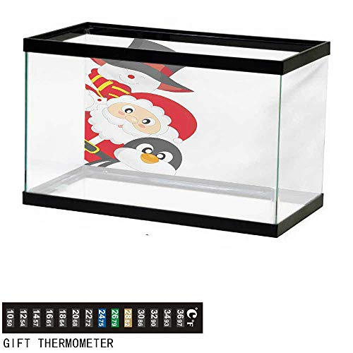 wwwhsl Aquarium Background,Christmas,Friendly Happy Santa Claus Penguin Snowman Festive Holiday Design,Charcoal Grey Red White Fish Tank Backdrop 24