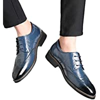Men Wingtips Square Toe Oxfords Lace-Up Dress Shoes Low Heel Flats Business Classic Shoes by Lowprofile