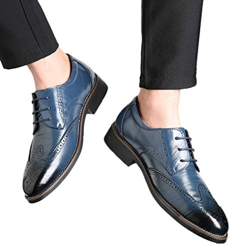 Men Wingtips Square Toe Oxfords Lace-Up Dress Shoes Low Heel Flats Business Classic Shoes by Lowprofile Navy