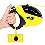 Retractable Dog Leash with Break and Lock Button - Free Waste Bag & 4 eBooks - Premium Quality - 16 Ft - Suitable for Small, Medium and Large Dogs - Up to 110 lbs - 100% Life Time Guarantee