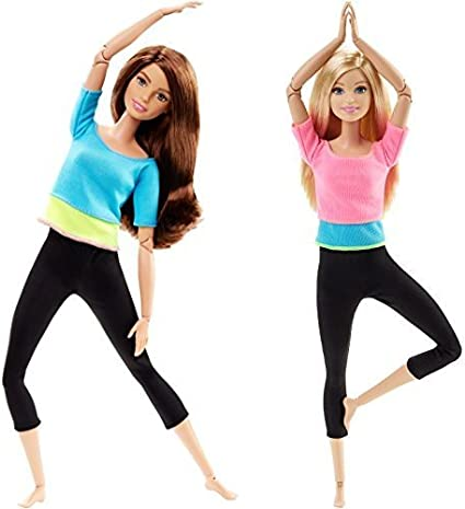 Barbie Made to Move Dolls Blue Pink Purple Top