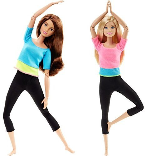 Barbie Made to Move Barbie Doll, Blue Top and Made to Move Barbie Doll, Pink Top Bundle