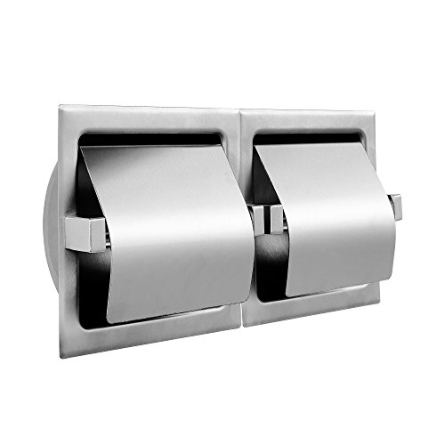 Hooded Paper Holder - Dependable Direct Horizontal Recessed Two Roll Hooded Toilet Paper Holder - Stainless Steel - Satin Finish