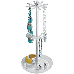 InterDesign Rain Jewelry, Necklaces, Bracelets, Bangles, Countertop Holder Organizer, Clear & Chrome