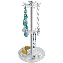 InterDesign Rain Jewelry, Necklaces, Bracelets, Bangles, Countertop Holder Organizer, Clear & Chrome