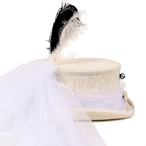 XZP Victorian Gothic Ivory Handmade Lace White Wedding Hat Steampunk Hat Top Hat ( Color : 1 , Size : 57CM ) by XZP