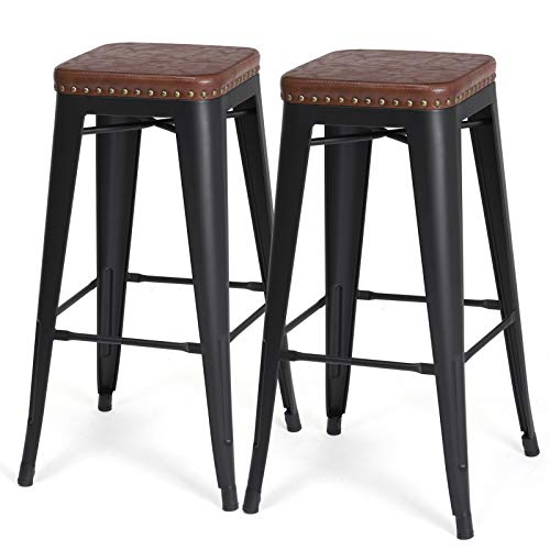 SONGMICS Bar Stools, PU Upholstery Bar Chairs, Stackable Kitchen Stools, 30 Inches Bar Height, Set of 2 Breakfast Stools, No Assembly Required, Industrial Style, Brown ULJB33BR