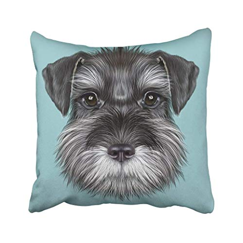 RPABR Custom White Boy Schnauzer Dog Portrait Illustrated Black On Blue Breed Canine Purebred Pillowcase Cover 18x18 inch