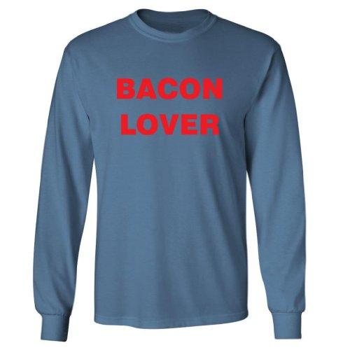 Tasty Threads Bacon Lover Adult Long Sleeve T-Shirt (Indigo Blue, 5XL)