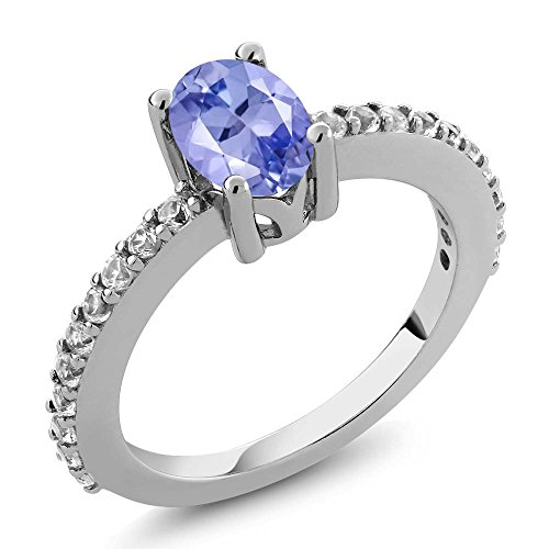 Gem Stone King 1.05 Ct 7x5mm Oval Tanzanite White Created Sapphire 925 Silver Ring (Size 9) ()