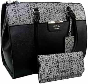 1ce3be5ff New Guess G Logo Large Purse Hand Bag Satchel & Wallet Set 2 Piece Black  Gray