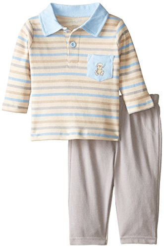 Rene Rofe Baby Baby Boys' 2 Piece Knit Denim Monkey Pant Set with Collared Shirt, Safari Blue Stripe/Gray, 0-3 Months