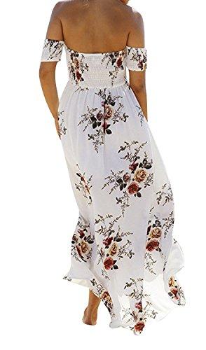 Sexy Floral Fendu Hors Épaule Mousseline Plage Partie Des Femmes Amstt Robe Maxi Blanc