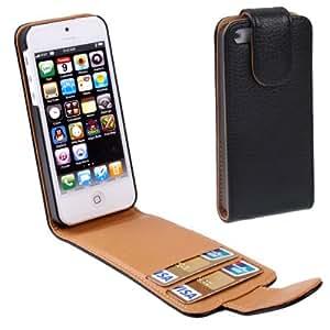 Texture lichis tapa Carcasa con ranuras Case Funda para iPhone 4 (Black)