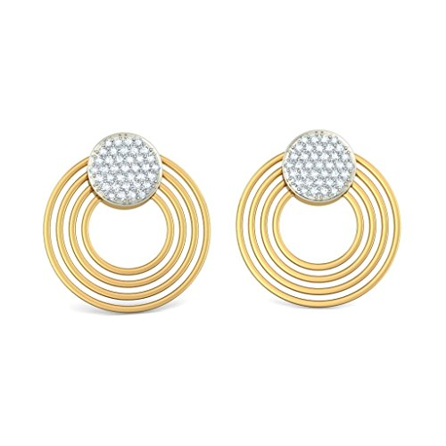 14K Or jaune 0.56CT TW White-diamond (IJ   SI) Pendants d'oreilles