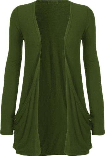 Damen Long Sleeve basic, Übergröße, Gr. 34-52, einfarbig Grün - Khaki