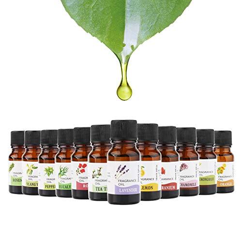 POVAD Aromatherapy Essential Oils Set Therapeutic Grade Oil - 12 x 10 ml - Peppermint, Orange, Rose, Lemon, Lavender, Lemongrass, Rosemary, Chamomile, Tea Tree, Ylang-Ylang, Eucalyptus, Geranium