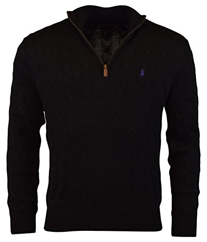 Polo Ralph Lauren Mens Cable Knit Signature Mock Sweater - שחור - מידה מדיום