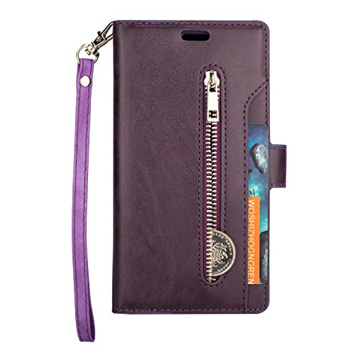 - Folice Galaxy J8 2018 Zipper Wallet Case, [Magnetic Closure]& 9 Card Slots, PU Leather Kickstand Wallet Cover Durable Flip Case Compatible with Samsung Galaxy J8 2018 (Violet)