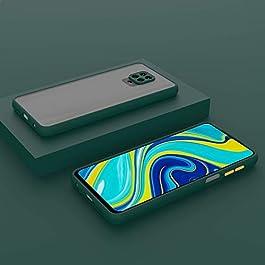 AE MOBILE ACCESSORIES Smoke Translucent Shock Proof Smooth Rubberized Matte Case Hard Back Cover for Redmi Note 9 Pro/Redmi Note 9 Pro Max (Dark Green)
