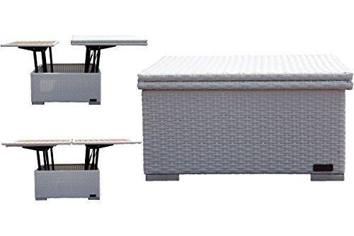 Amazon.de: OUTFLEXX Loungetisch, Polyrattan, weiß, 152 x 75 x 40 cm