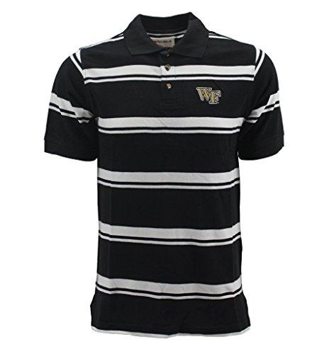 Pressbox Men's Wake Forest Black White Striped Polo Shirt (Polo Striped Collegiate)