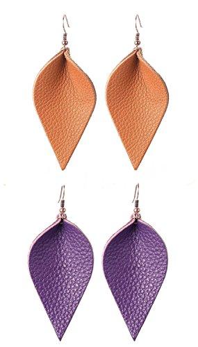 Joanna Design Lightweight Soft Brown Purple Real Petal Leather Leaf Earrings Teardrop Women Dangle Drop Earring ()