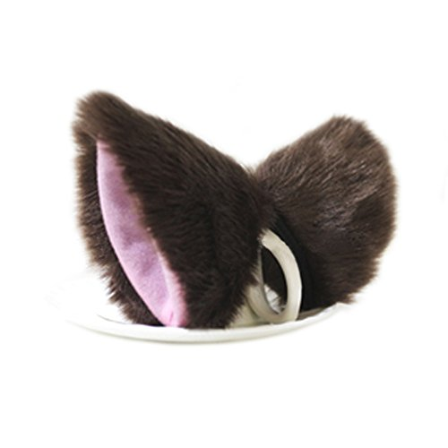 [E-TING Cat Fox Fur Ears Headband Hairband Anime Party Costume Cosplay Accessories (Brown with Pink] (Brown Cat Ears)