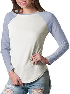 2256c0e7 Friday Chic Women's Raglan Long Sleeve Baseball Shirt (Small, Pale ...