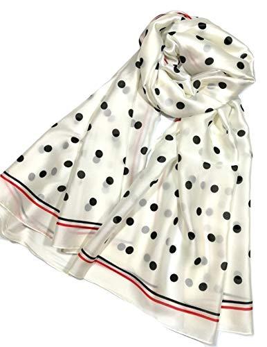 Shanlin Silk Feel Long Satin Pattern Scarves for Women (Dots-Black on Ivory)