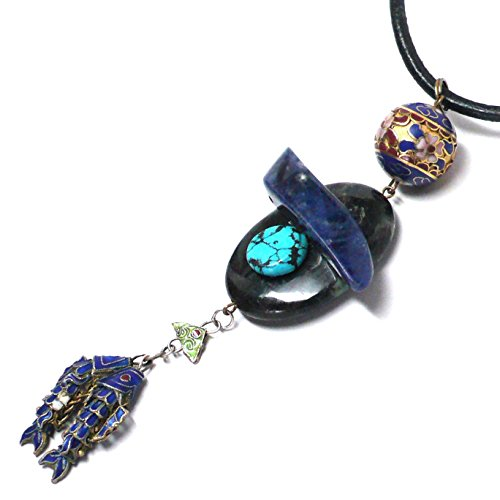 - Chinese Cloisonne Jointed Fish Sodalite Wave OOAK Necklace