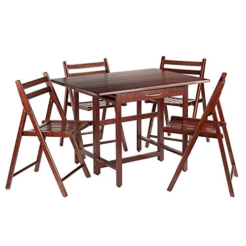 Winsome Wood Taylor 5-Pc Set Drop Leaf Table W/ 4 Folding Chairs (Set Storage Dining)