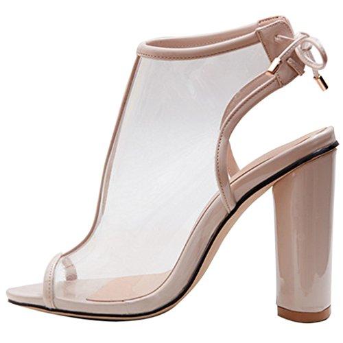 High Heels Slingpumps Pumps Toe PVC Schuhe ENMAYER Fesselriemen Material Aprikose Peep Frauen qFwzfzAty7