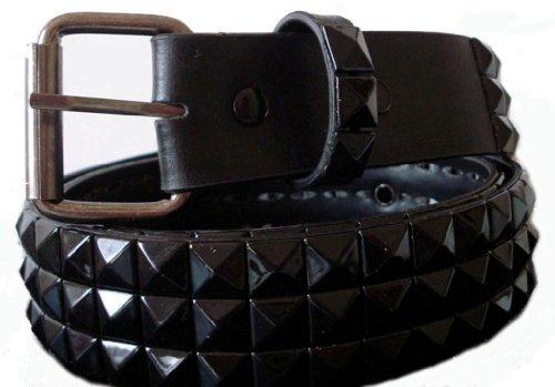 BeltsandStuds Goth Punk Black Stud Studded Snap on Belt XL 40 Black