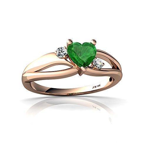 14kt Gold Emerald and Diamond 5mm Heart Split Band Swirl Ring