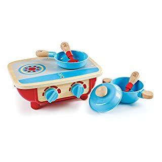 Hape Toddler Kitchen Set   Wooden 6 Piece Cooking Set, Pretend Kitchen Playset with Toy Stove, Frying Pan, Spoon, Spatula