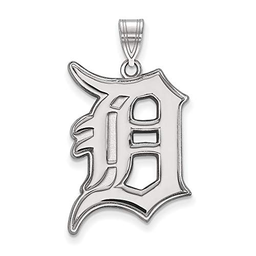 MLB Detroit Tigers Sterling Silver MLB LogoArt Detroit Tigers XL Pendant Size One Size
