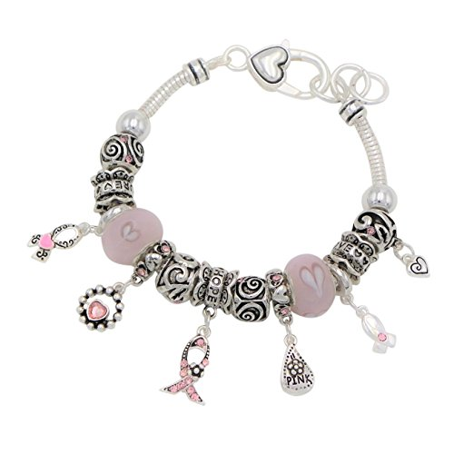 Rosemarie Collections Women's Pink Ribbon Breast Cancer Awareness Hearts Charm Bracelet