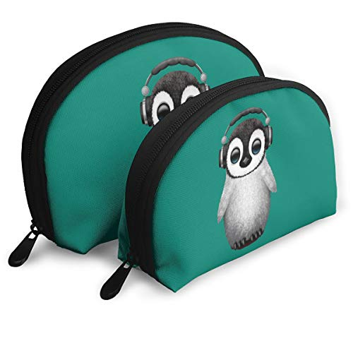 Child Goods Cute Baby Penguin Dj Wearing Headphone Multi-Functional Portable Bags Clutch Pouch]()