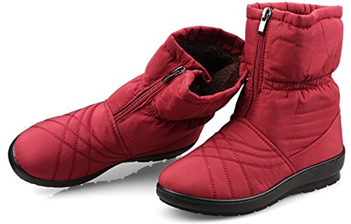 Calf Snow Winter Ankle With Zipper Labato Boots Style Wide Red Waterproof Warm Women's AqWwI4g