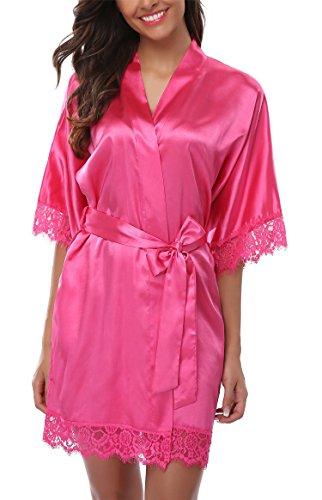 (Giova Women's Lace Trim Kimono Robe Nightwear Nightgown Sleepwear Satin Short Robe Rose Red Small )