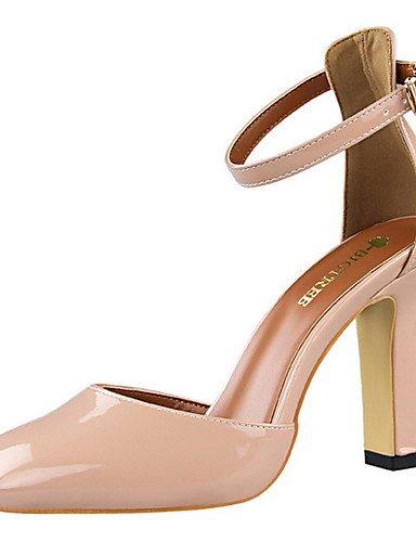 GGX/ Damen-High Heels-Kleid / Party & Festivität-PU-Blockabsatz-Absätze / Komfort / Rundeschuh-Schwarz / Gelb / Rosa / Rot / Silber / pink-us6.5-7 / eu37 / uk4.5-5 / cn37