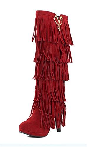 YE Damen High Heels Plateau Wildleder KnieHoch Stiefel mit Fransen Bequeme Blockabsatz 10cm Fashion Elegant Herbst Winterschuhe Rot